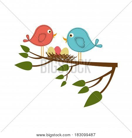 colorful silhouette of birds and nest in tree branch in closeup vector illustration