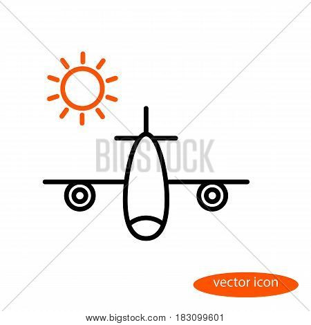A simple vector image of an airplane carrying vacationers and an orange sun a flat line icon for a travel agency.