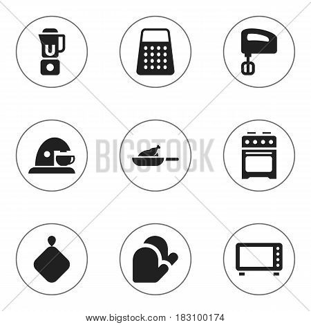 Set Of 9 Editable Cooking Icons. Includes Symbols Such As Kitchen Glove, Shredder, Agitator And More. Can Be Used For Web, Mobile, UI And Infographic Design.
