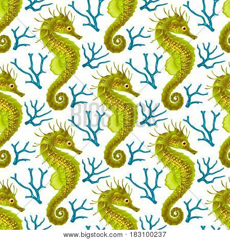Vector Seamless Pattern whith Seahorse. Green Thorny Hippocampus and Blue Coral Isolated on White Background. Use for Sea Wallpaper Gift Wrap or Wrapping Paper