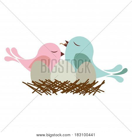 colorful silhouette of bird in nest with eggs and chick vector illustration