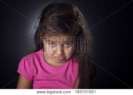 Little Girl Looking Upset