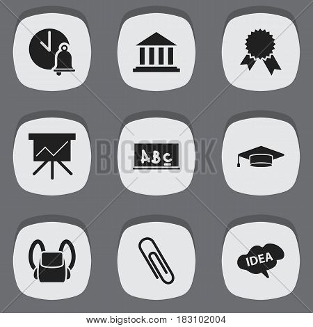 Set Of 9 Editable School Icons. Includes Symbols Such As Staple, Victory Medallion, Mind And More. Can Be Used For Web, Mobile, UI And Infographic Design.