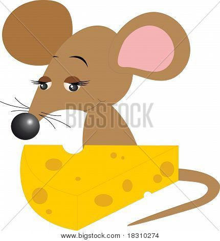 Mouse With Cheese. Vector