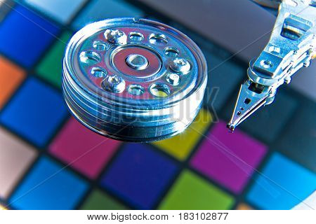close up of colorful hard disk