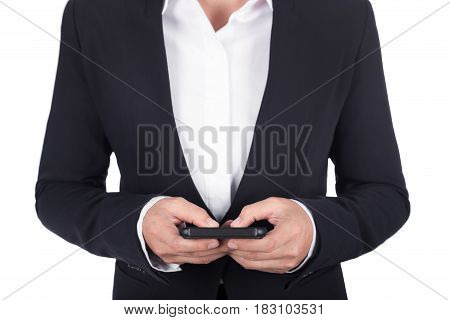 Hand Of Business Woman Using Smart Phone Isolated On White