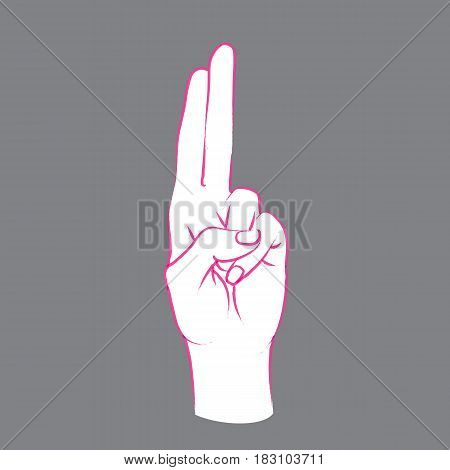 Gesture. Female hand with index and middle finger connect and up. Vector illustration in sketch style on a grey background. Making promise sign by hand. Pink lines and white silhouette.