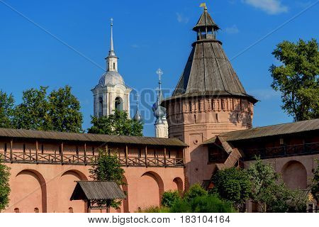 Ancient Orthodox monastery in Suzdal summer day