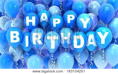 Balloons fly blue and note happy birthday. 3d illustration