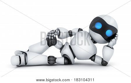 Modern white robot lying down. 3d illustration