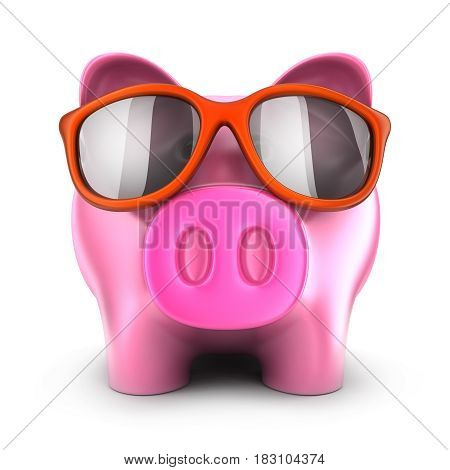 Pink piggy bank in glasses on white background. 3d illustration