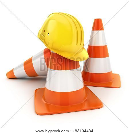 Three cones road and helmet. 3d illustration