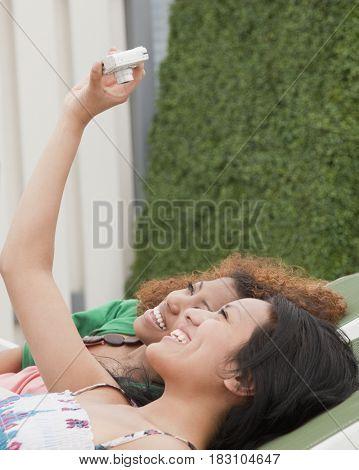 Women taking self-portrait