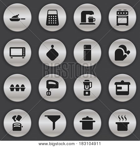 Set Of 16 Editable Cooking Icons. Includes Symbols Such As Grill, Shredder, Agitator And More. Can Be Used For Web, Mobile, UI And Infographic Design.