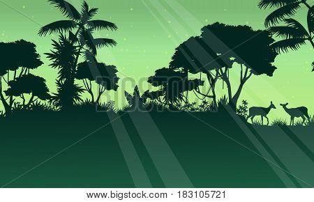 Landscape deer on the jungle silhouette vector illustration