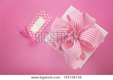 Happy Mothers Day White Gift Box With Pink Stripe Ribbon.