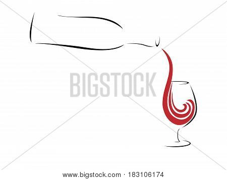 Pouring wine concept. Stylized wine bottle serving a glass silhouettes on white background.