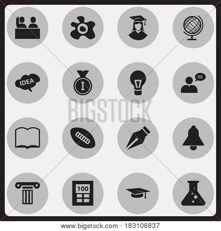 Set Of 16 Editable Graduation Icons. Includes Symbols Such As Lamp, First Place, Book And More. Can Be Used For Web, Mobile, UI And Infographic Design.