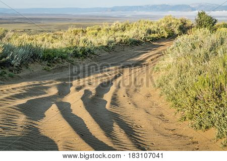 off road sandy trail in North Sand Hills, only place in Colorado to legally ride on sand dunes