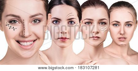 Woman's faces with lifting arrows over white background. Plastic surgery concept.
