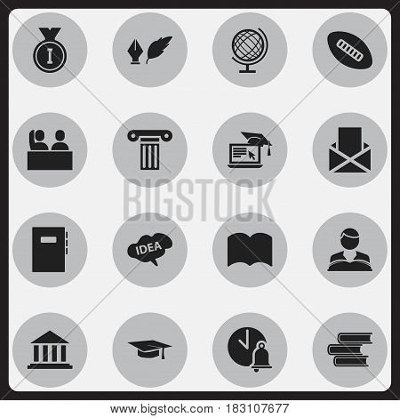Set Of 16 Editable Education Icons. Includes Symbols Such As Oval Ball, Pillar, School Bell And More. Can Be Used For Web, Mobile, UI And Infographic Design.