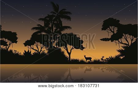 Collection stock of jungle landscape silhouette vector illustration