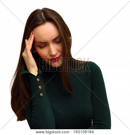 Young Girl With Headache Holds Head With His Hand. The Pain In His Temples. Migraine