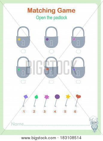 Stock vector illustration matching educational game for children match the padlock and keys kids activity learning geometric,  kids activity sheet