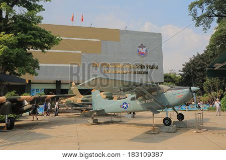 HO CHI MINH CITY VIETNAM - NOVEMBER 26, 2016: Unidentified people visit War Remnants Museum. War Remnants Museum is one of the most popular museums in Vietnam attracting 500000 visitors a year.