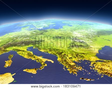 Adriatic Sea Region From Space