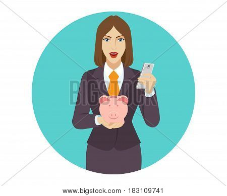 Businesswoman using a mobile phone and holding a piggy bank. Portrait of businesswoman character in a flat style. Vector illustration.