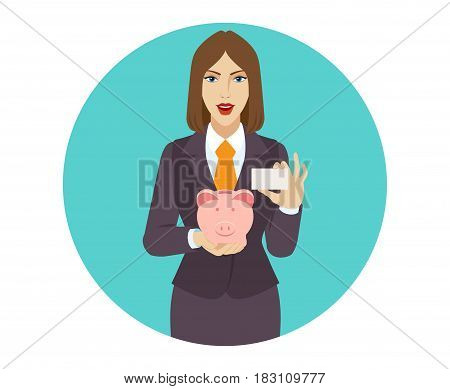 Businesswoman holding a piggy bank and showing the business card. Portrait of businesswoman character in a flat style. Vector illustration.