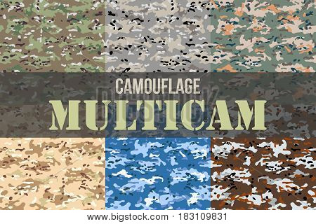 Set of Multicam Camouflage seamless patterns. Military background and texture. Vector Illustration.
