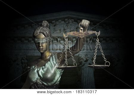 Lady Justice on the Supreme Court of U.S. background