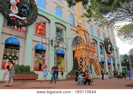 HO CHI MINH CITY VIETNAM - NOVEMBER 26, 2016: Unidentified people visit Diamond Plaza. Diamond Plaza is a luxurious shopping center in downtown District 1