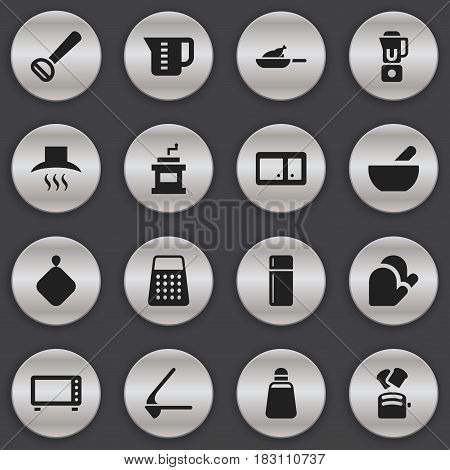 Set Of 16 Editable Cook Icons. Includes Symbols Such As Mocha Grinder, Slice Bread, Pot-Holder And More. Can Be Used For Web, Mobile, UI And Infographic Design.