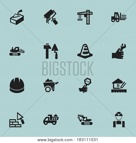 Set Of 16 Editable Building Icons. Includes Symbols Such As Camion , Handcart , Notice Object. Can Be Used For Web, Mobile, UI And Infographic Design.