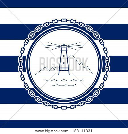 Sea Emblem on a Striped Marine Backgrounda ,Lighthouse in a Line Style, Vector Illustration