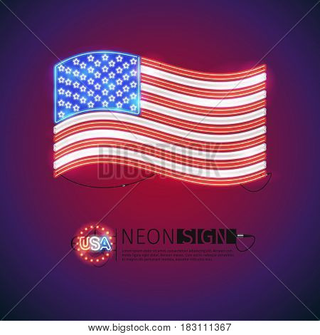 Waving USA flag neon signs makes it quick and easy to customize your patriotic project. Used neon vector brushes included.