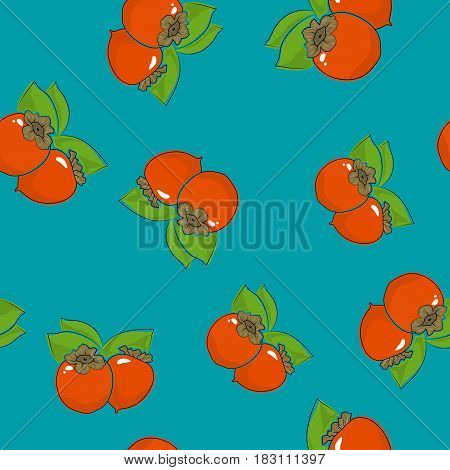 Seamless Pattern of Persimmon ,Fruit on Azure Background ,Vector Illustration