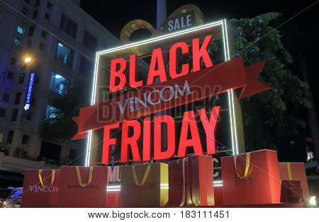 HO CHI MINH CITY VIETNAM - NOVEMBER 26, 2016: Vincom Center famous Black Friday sale sign. Vincom Center is a luxurious shopping center in downtown District 1.