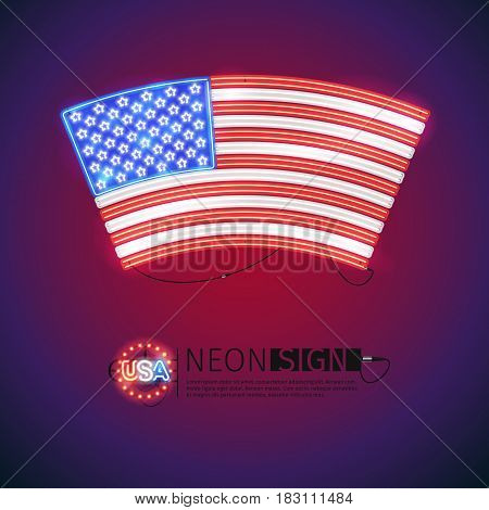 Arced USA flag neon signs makes it quick and easy to customize your patriotic project. Used neon vector brushes included.