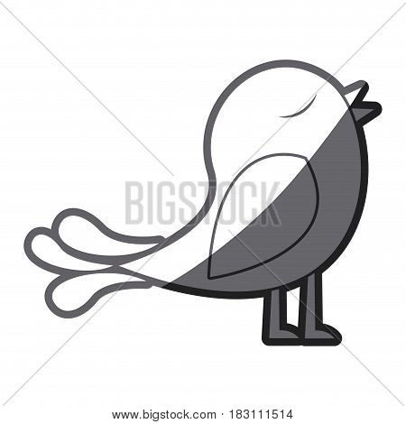 grayscale thick silhouette of bird singing vector illustration
