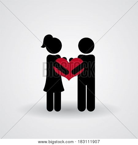 Love and Relationship Stickmans. Man and woman holding a red heart icon, vector simple illustration