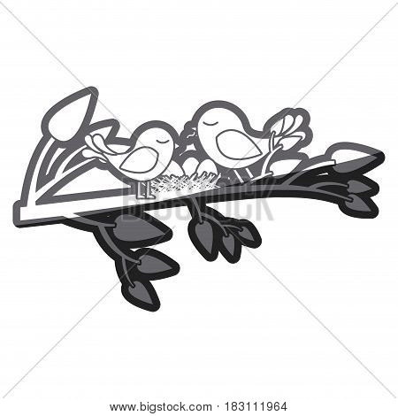 grayscale thick silhouette of birds and nest in tree branch vector illustration