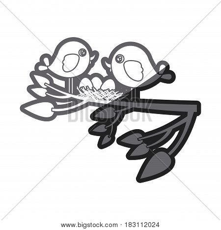 grayscale thick silhouette of birds and nest in tree branch in closeup vector illustration