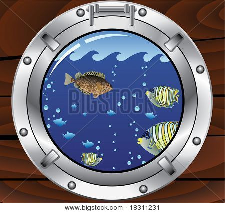 Vector Porthole And Colorful Tropical Fishes