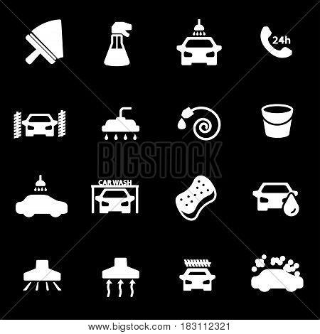 Vector white car wash icons set on black background
