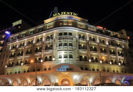 HO CHI MINH CITY VIETNAM - NOVEMBER 26, 2016: Hotel Majestic . Hotel Majestic is one of the most luxurious hotel in Ho Chi Minh City.