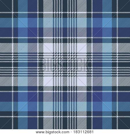 Blue check fabric texture diagonal seamless pattern. Vector illustration.